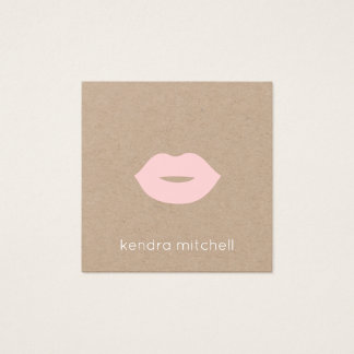 Minimalist Pink Lips Logo Makeup Artist Kraft Square Business Card