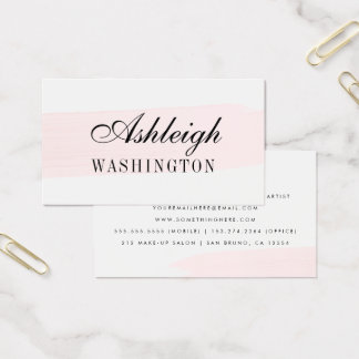 Minimalist Pink Watercolor Brush Stroke Business Card