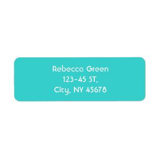 minimalist preppy chic aqua blue turquoise teal return address label