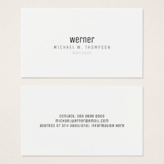 minimalist professional elegant simple manager b/w business card