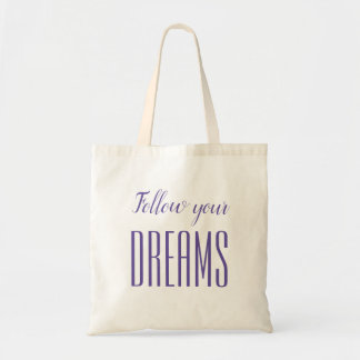 Minimalist purple / violet quote dream tote bag