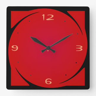 Minimalist Red Black Design>Kitchen Clock
