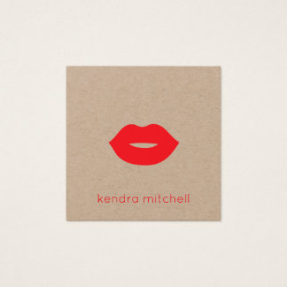 Minimalist Red Lips Logo Makeup Artist Kraft Square Business Card