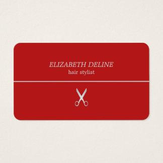 Minimalist Red Silver Line Scissor HairStylist Business Card