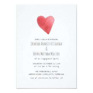 Minimalist Red Watercolor Heart Engagement Party Card