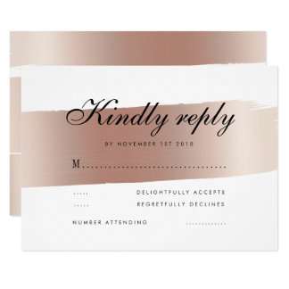 Minimalist Rose Gold Brush Stroke Wedding RSVP Card