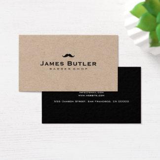 Minimalist Rustic Kraft Barber Shop Mustache Business Card