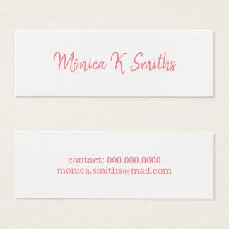 minimalist script-font-style elegant & modern pink mini business card