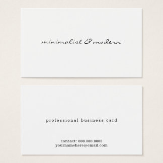 minimalist script modern professional white business card