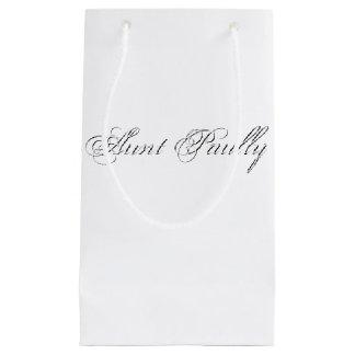 Minimalist Script Plain Personalized 3d Monogram Small Gift Bag