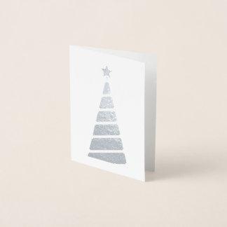 Minimalist Silver Christmas Tree Foil Card
