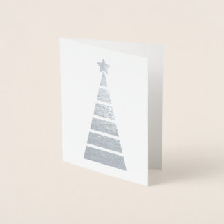 Minimalist Silver Decorated Christmas Tree Foil Card