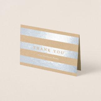 Minimalist Silver Stripes Thank You Foil Card