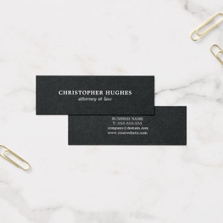 Minimalist Simple Elegant Black White Attorney Mini Business Card