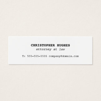 Minimalist Simple Elegant White Attorney at law Mini Business Card