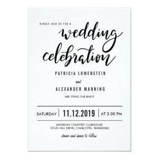 Minimalist Simple Wedding Celebration Typography Card
