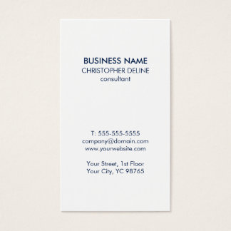 Minimalist Simple White Blue Consultant Business Card
