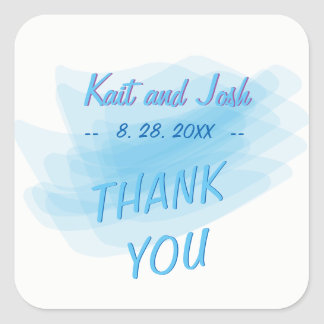 Minimalist Soft Ambiance Blue Watercolor Thank You Square Sticker