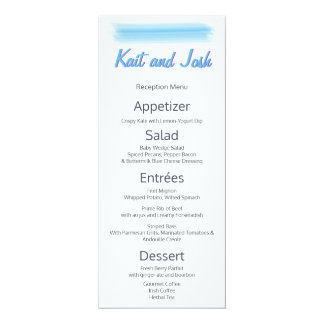 Minimalist Soft  Blue Watercolor Reception Menu Card