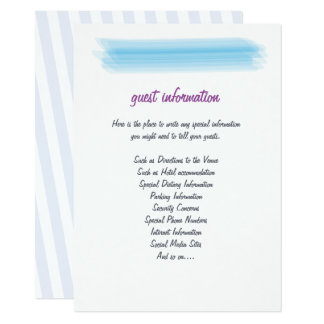 Minimalist Soft Blue Watercolor Wedding Insert Card