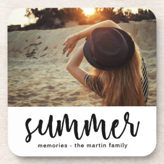 Minimalist summer with add photo and name coaster