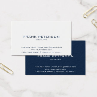 Minimalist Textured Inverse Dark Blue and White Business Card