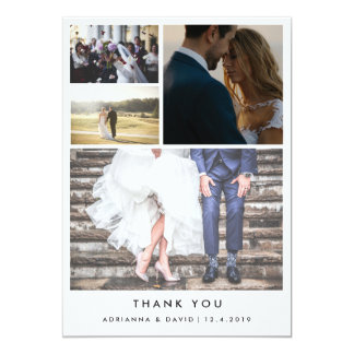 Minimalist Thank You | Four Couple Photo Wedding Card
