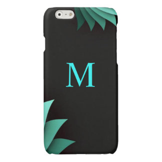 Minimalist Turquoise Floral Personalized Monogram Glossy iPhone 6 Case