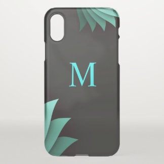 Minimalist Turquoise Floral Personalized Monogram iPhone X Case