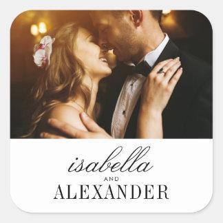 Minimalist Typography & Custom Photo | Wedding Square Sticker