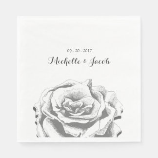 Minimalist Vintage Rose Wedding Paper Napkin
