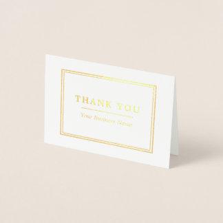 Minimalist White & Gold Thank You Foil Card