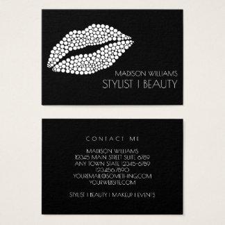 Minimalist | White Lips Stylist Makeup Artist Business Card