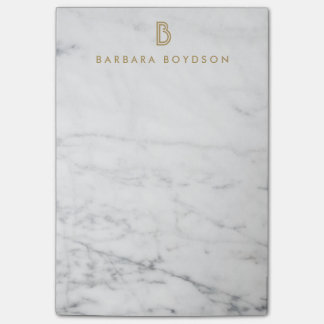 Minimalist White Marble Gold Monogram Post-it® Notes