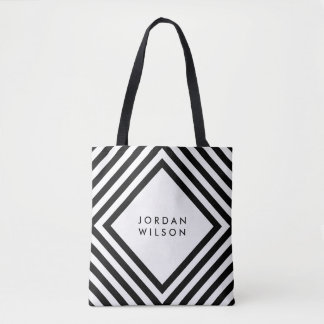 Minimalist White with Black Square Lines Geometric Tote Bag