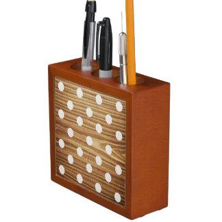 Minimalist wood polka dots. desk organiser