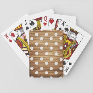 Minimalist wood polka dots. playing cards