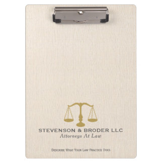 Minimalistic, Beige Linen With Gold Scale Clipboard