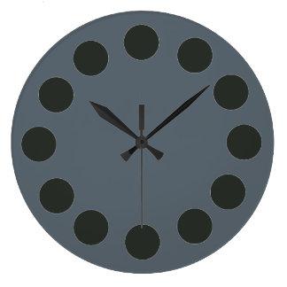 Minimalistic Black Dots on Custom Color Large Clock