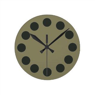Minimalistic Black Dots on Custom Color Round Clock