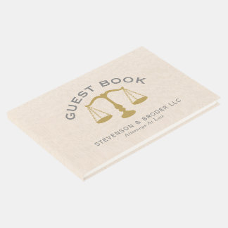 Minimalistic Design Beige Linen & Gold Law Scale Guest Book