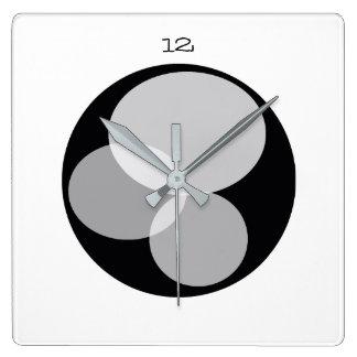 Minimalistic Elegant Abstract Circle Black White Square Wall Clock