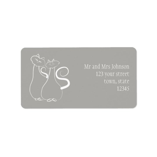 Minimalistic Freehand Pair Cats Address Label