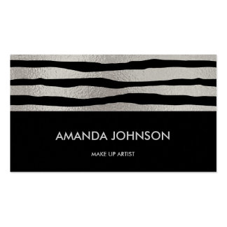 Minimalistic Glam Stylist  Artist Black Silver Vip Pack Of Standard Business Cards