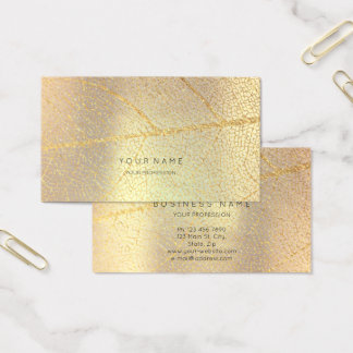 Minimalistic Golden Rose Gold Leaf Blush Metallic Business Card