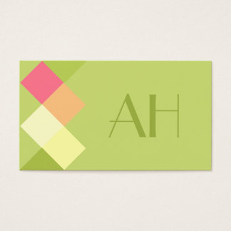 Minimalistic Green Squares & Monogram Business Card