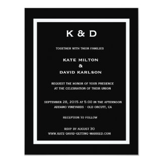 Minimalistic Modern Black-and-White Wedding 11 Cm X 14 Cm Invitation Card