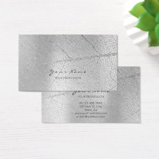Minimalistic Silver Gray Leaf Monochromatic Business Card