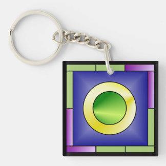 Minimalistic World Art Deco Double-Sided Square Acrylic Key Ring