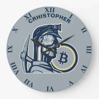 Mining Bitcoin Cryptocurrency Funny Cool Vintage Large Clock